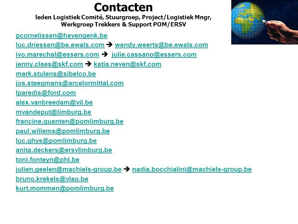 Contacten leden Logistiek Comité, Stuurgroep, Project/Logistiek Mngr, Werkgroep Trekkers & Support POM/ERSV pcornelissen@havengenk.be luc.driessen@be.