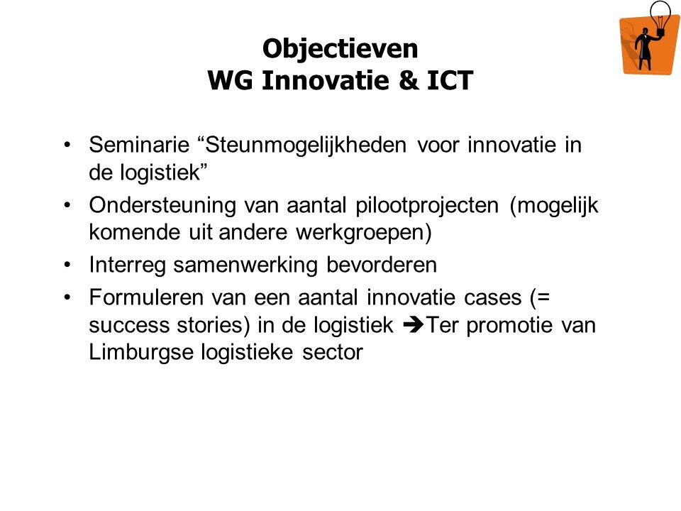 """Objectieven WG Innovatie & ICT Seminarie """"Steunmogelijkheden voor innovatie in de logistiek"""" Ondersteuning van aantal pilootprojecten (mogelijk komend"""