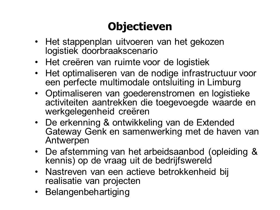 Missie One Stop Shop overlegplatform worden voor de logistiek sector in Limburg –het aanspreekpunt in Limburg voor logistieke ontwikkelingen, die het individuele organisatieniveau overstijgen of andere actoren beïnvloeden, en dit zowel voor het bedrijfsleven als voor beleidsmakers en overheden, binnen en buiten Limburg.