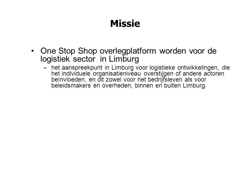 Missie One Stop Shop overlegplatform worden voor de logistiek sector in Limburg –het aanspreekpunt in Limburg voor logistieke ontwikkelingen, die het
