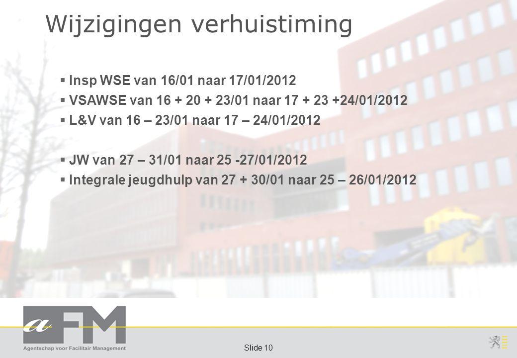 Page 10 Slide 10 Wijzigingen verhuistiming  Insp WSE van 16/01 naar 17/01/2012  VSAWSE van 16 + 20 + 23/01 naar 17 + 23 +24/01/2012  L&V van 16 – 23/01 naar 17 – 24/01/2012  JW van 27 – 31/01 naar 25 -27/01/2012  Integrale jeugdhulp van 27 + 30/01 naar 25 – 26/01/2012