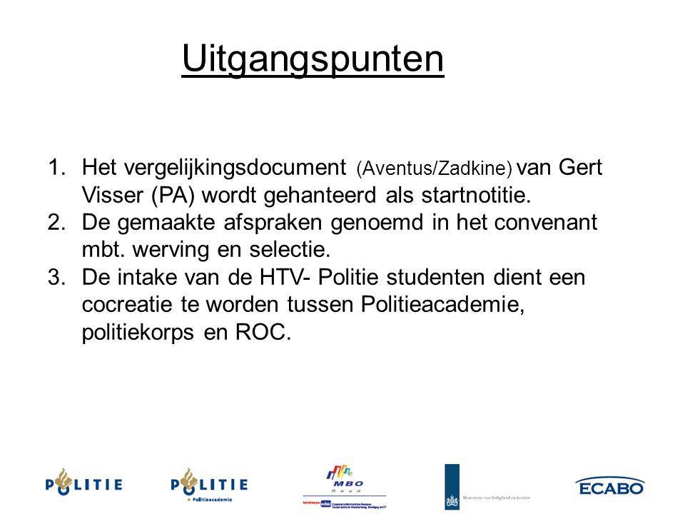 1.Het vergelijkingsdocument (Aventus/Zadkine) van Gert Visser (PA) wordt gehanteerd als startnotitie. 2.De gemaakte afspraken genoemd in het convenant