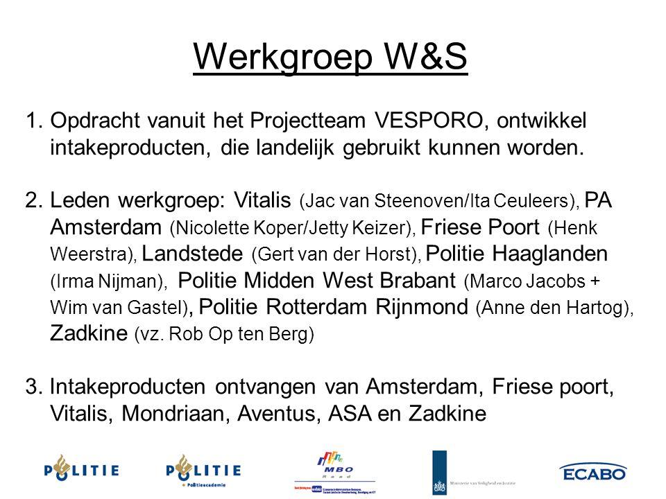 1.Opdracht vanuit het Projectteam VESPORO, ontwikkel intakeproducten, die landelijk gebruikt kunnen worden. 2.Leden werkgroep: Vitalis (Jac van Steeno