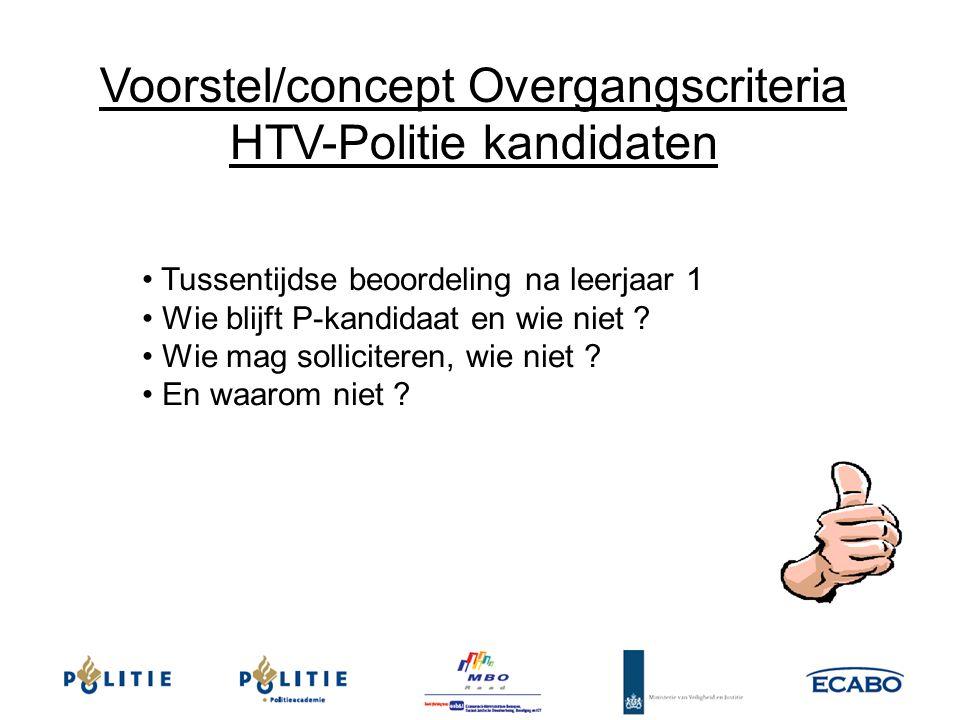 Voorstel/concept Overgangscriteria HTV-Politie kandidaten Tussentijdse beoordeling na leerjaar 1 Wie blijft P-kandidaat en wie niet ? Wie mag sollicit