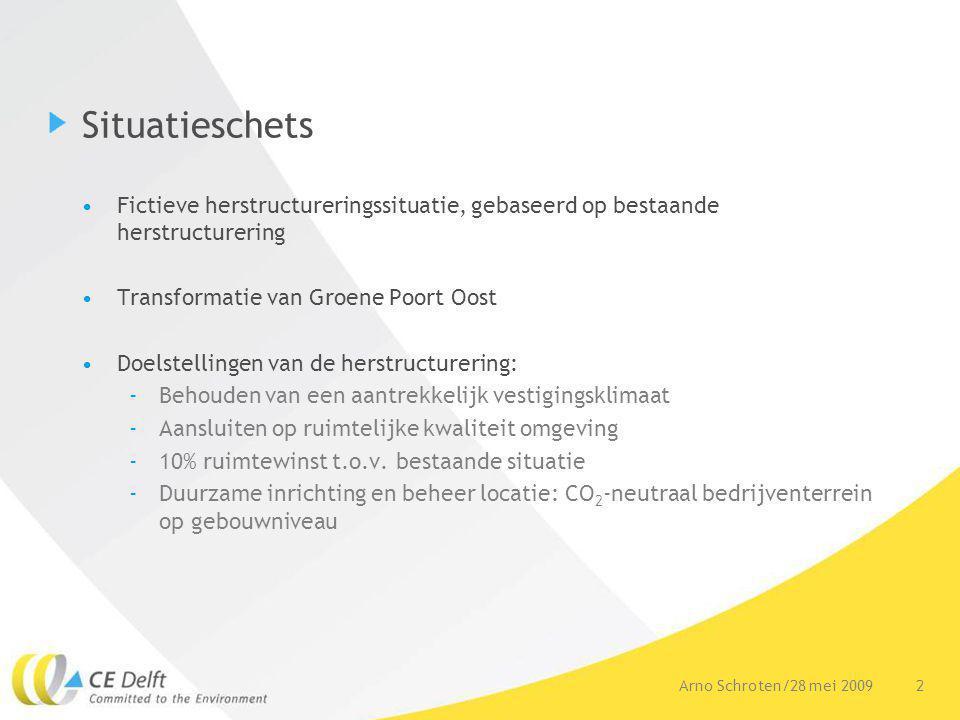2Arno Schroten/28 mei 2009 Situatieschets Fictieve herstructureringssituatie, gebaseerd op bestaande herstructurering Transformatie van Groene Poort Oost Doelstellingen van de herstructurering: -Behouden van een aantrekkelijk vestigingsklimaat -Aansluiten op ruimtelijke kwaliteit omgeving -10% ruimtewinst t.o.v.