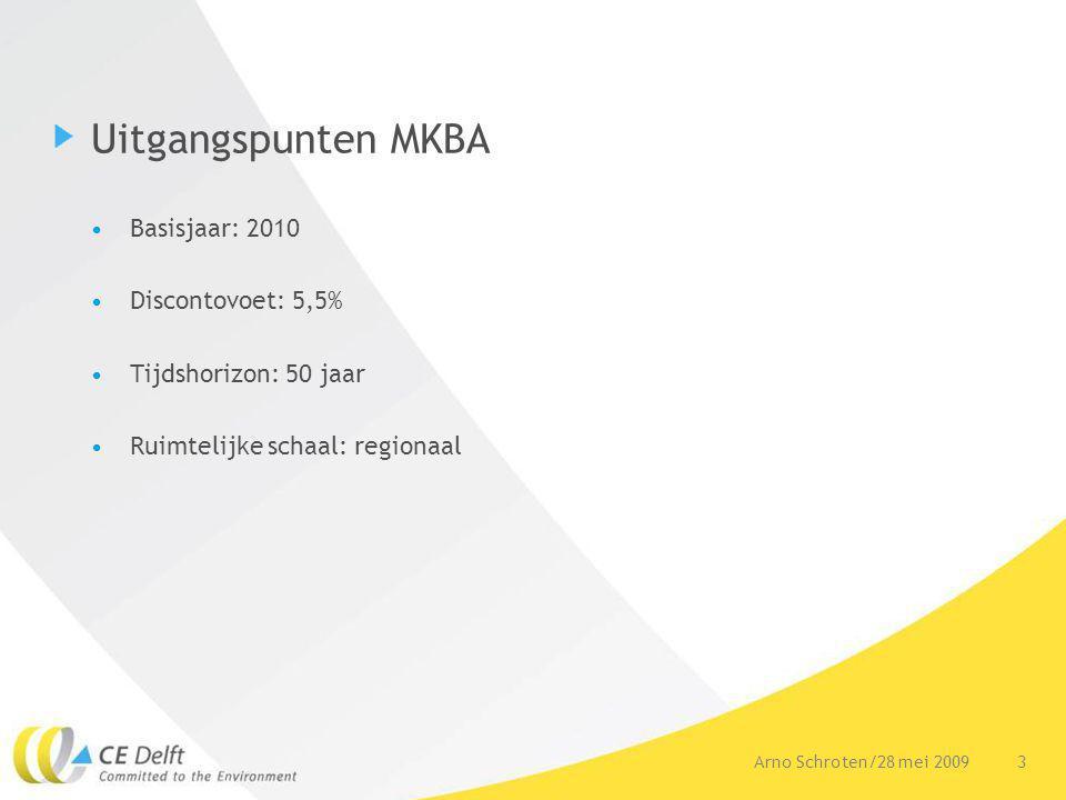3Arno Schroten/28 mei 2009 Uitgangspunten MKBA Basisjaar: 2010 Discontovoet: 5,5% Tijdshorizon: 50 jaar Ruimtelijke schaal: regionaal
