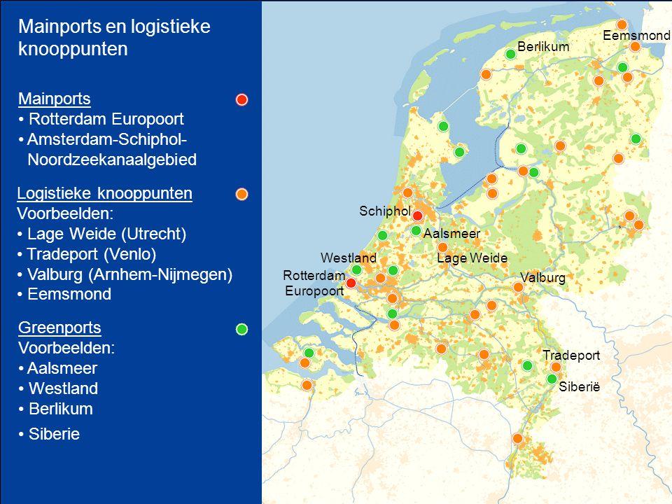 Mainports en logistieke knooppunten Greenports Voorbeelden: Aalsmeer Westland Berlikum Siberie Siberië Aalsmeer Westland Berlikum Mainports Rotterdam