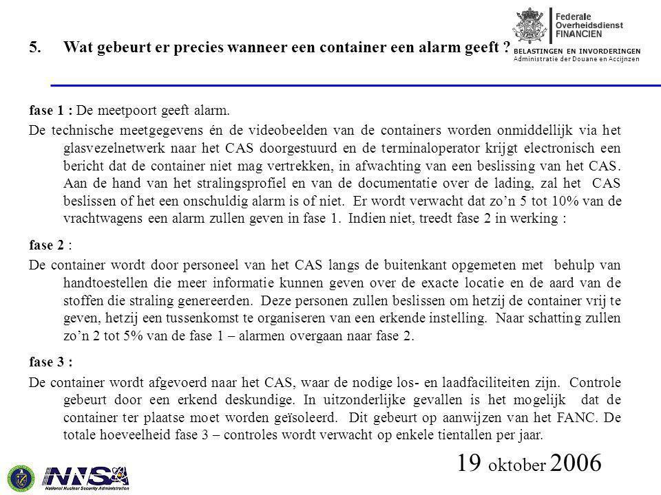 BELASTINGEN EN INVORDERINGEN Administratie der Douane en Accijnzen 19 oktober 2006 5.Wat gebeurt er precies wanneer een container een alarm geeft ? fa