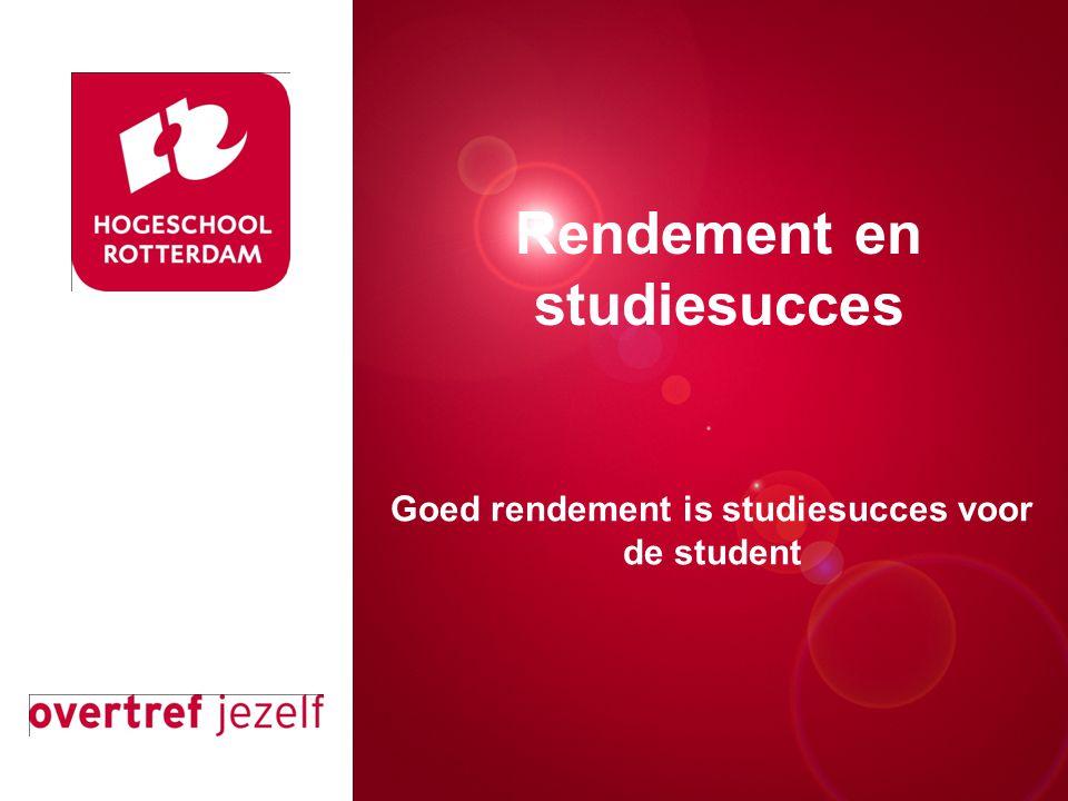 Presentatie titel Rotterdam, 00 januari 2007 Goed rendement is studiesucces voor de student Rendement en studiesucces