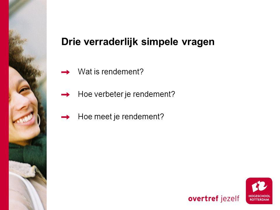 Drie verraderlijk simpele vragen Wat is rendement.