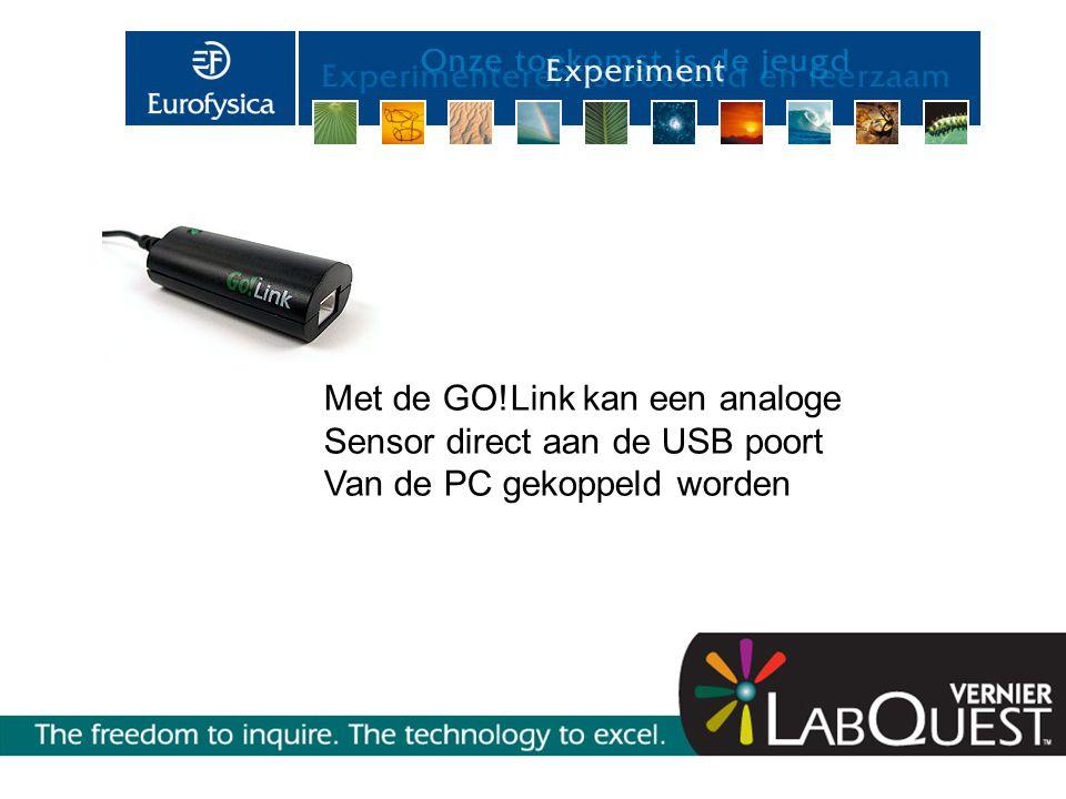 Met de GO!Link kan een analoge Sensor direct aan de USB poort Van de PC gekoppeld worden