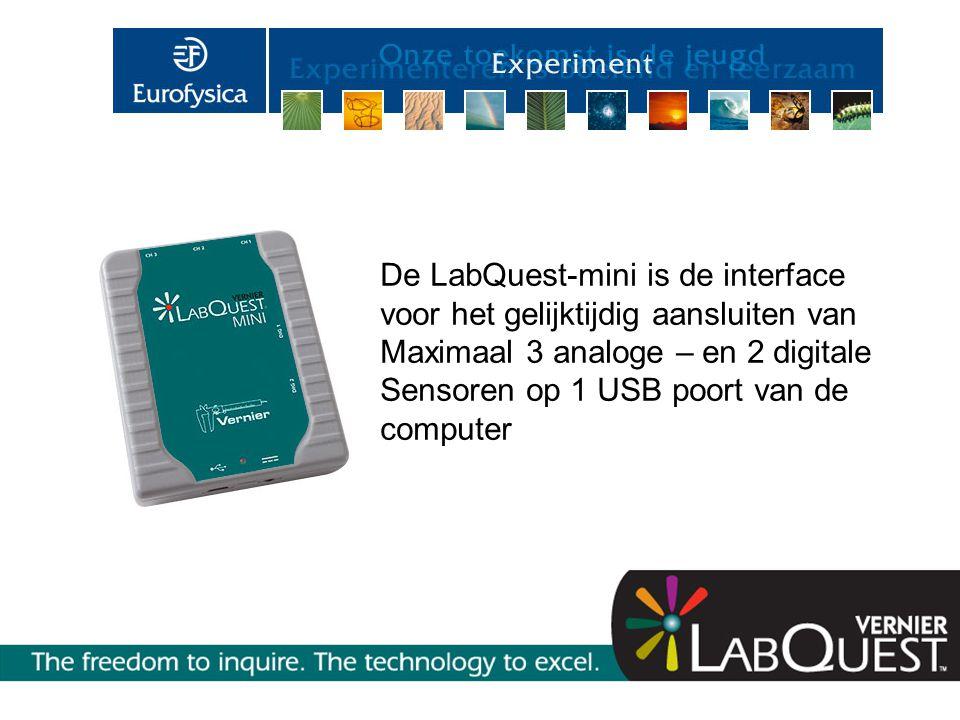 De LabQuest-mini is de interface voor het gelijktijdig aansluiten van Maximaal 3 analoge – en 2 digitale Sensoren op 1 USB poort van de computer