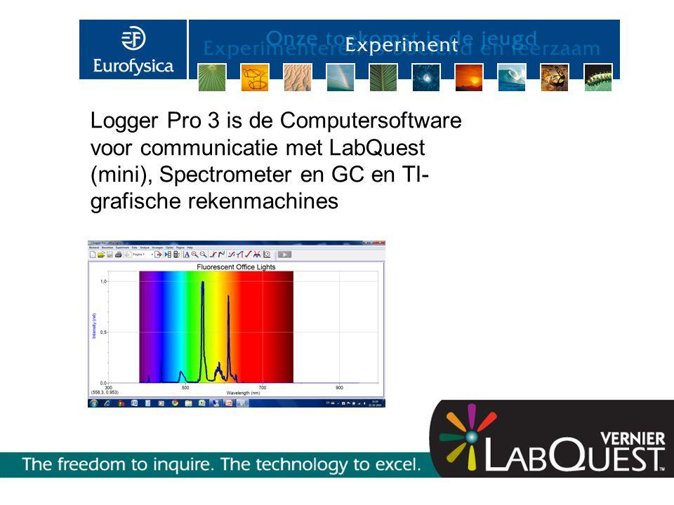 Logger Pro 3 is de Computersoftware voor communicatie met LabQuest (mini), Spectrometer en GC en TI- grafische rekenmachines