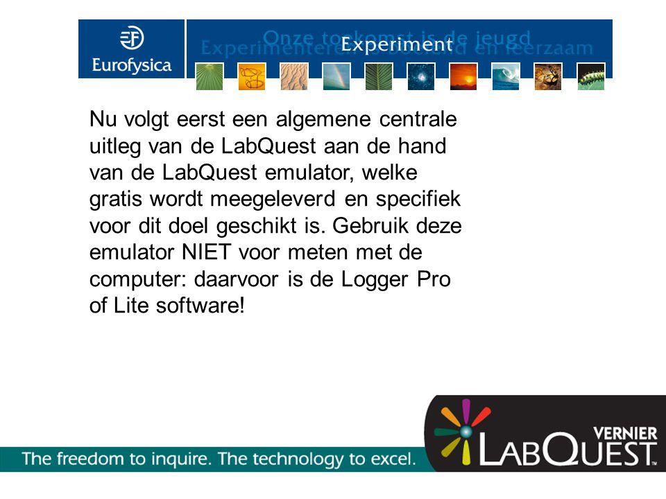 Nu volgt eerst een algemene centrale uitleg van de LabQuest aan de hand van de LabQuest emulator, welke gratis wordt meegeleverd en specifiek voor dit