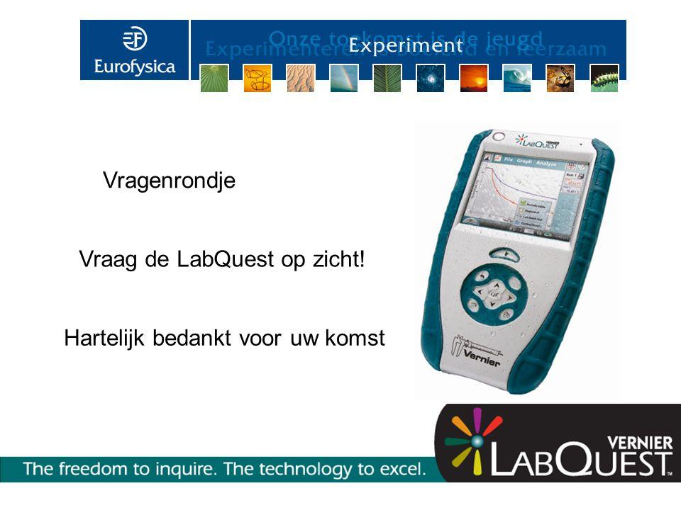 Vragenrondje Hartelijk bedankt voor uw komst Vraag de LabQuest op zicht!
