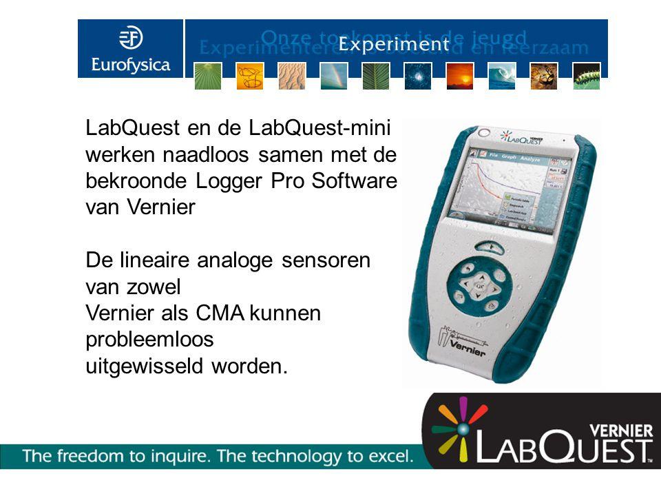 LabQuest en de LabQuest-mini werken naadloos samen met de bekroonde Logger Pro Software van Vernier De lineaire analoge sensoren van zowel Vernier als