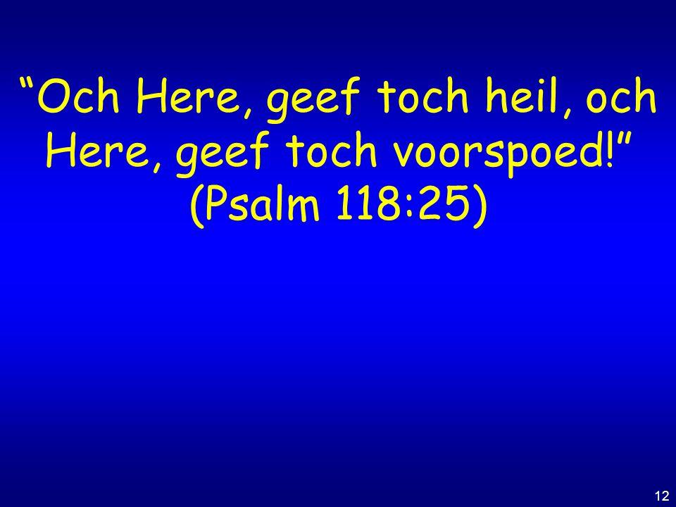 "12 ""Och Here, geef toch heil, och Here, geef toch voorspoed!"" (Psalm 118:25)"