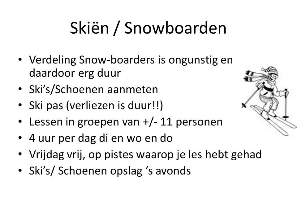 Skiën / Snowboarden Verdeling Snow-boarders is ongunstig en daardoor erg duur Ski's/Schoenen aanmeten Ski pas (verliezen is duur!!) Lessen in groepen