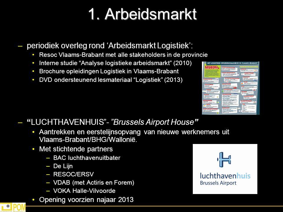 """1. Arbeidsmarkt –periodiek overleg rond 'Arbeidsmarkt Logistiek': Resoc Vlaams-Brabant met alle stakeholders in de provincie Interne studie """"Analyse l"""