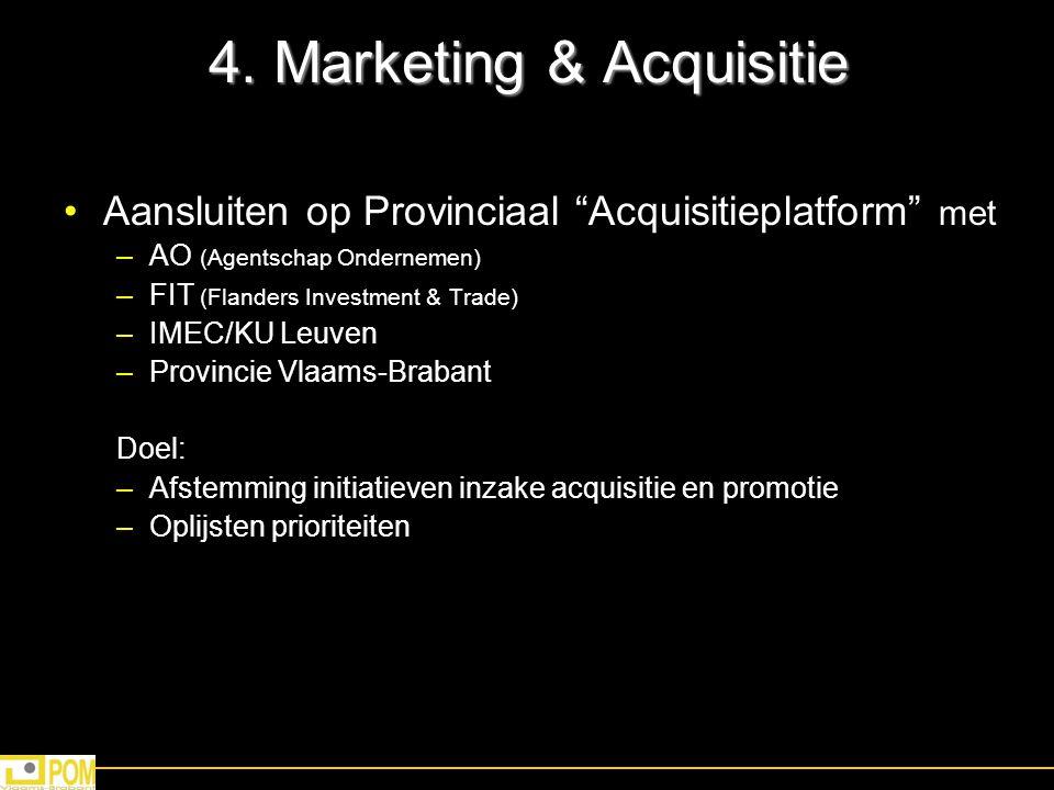 """4. Marketing & Acquisitie Aansluiten op Provinciaal """"Acquisitieplatform"""" met –AO (Agentschap Ondernemen) –FIT (Flanders Investment & Trade) –IMEC/KU L"""