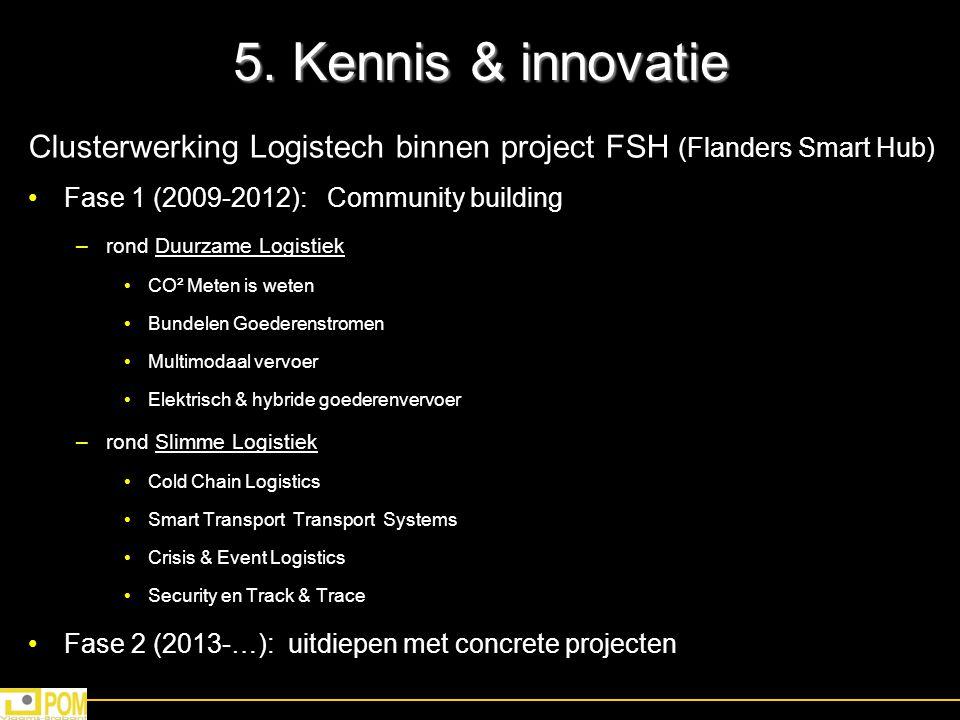 5. Kennis & innovatie Clusterwerking Logistech binnen project FSH (Flanders Smart Hub) Fase 1 (2009-2012): Community building –rond Duurzame Logistiek