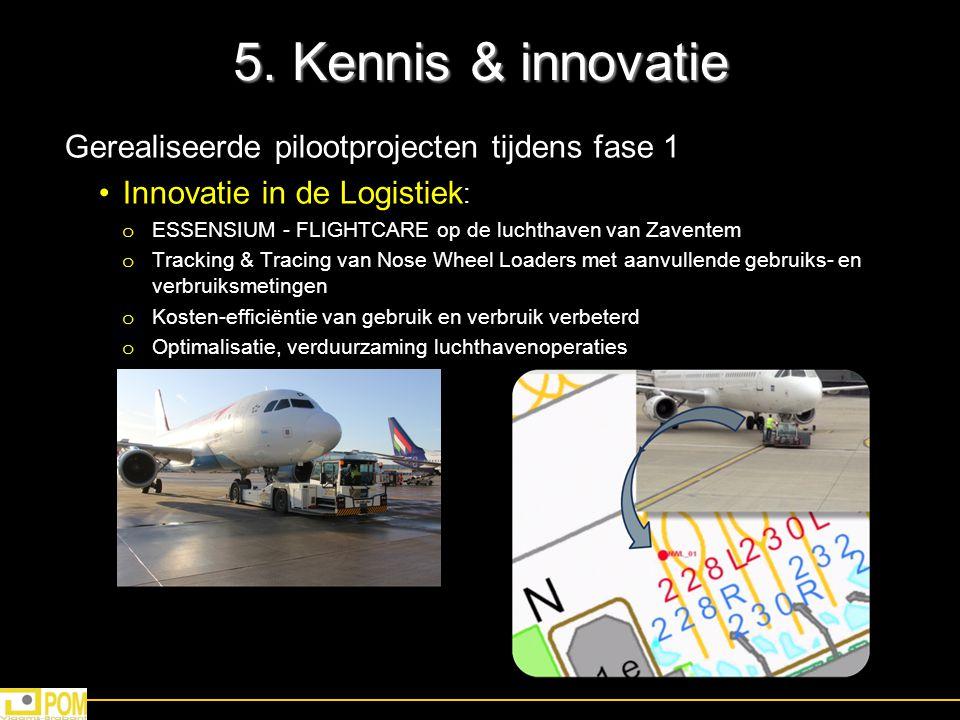 5. Kennis & innovatie Gerealiseerde pilootprojecten tijdens fase 1 Innovatie in de Logistiek : o ESSENSIUM - FLIGHTCARE op de luchthaven van Zaventem
