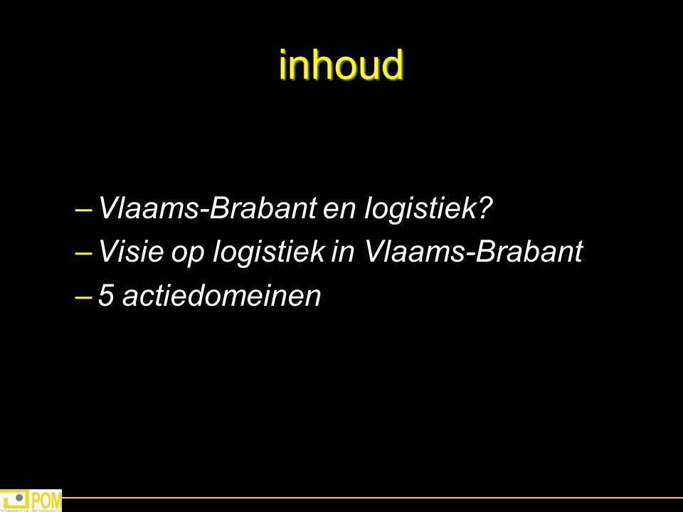 inhoud –Vlaams-Brabant en logistiek? –Visie op logistiek in Vlaams-Brabant –5 actiedomeinen