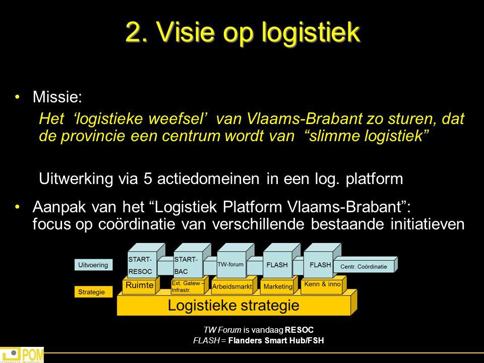 """2. Visie op logistiek Missie: """"slimme logistiek"""" Het 'logistieke weefsel' van Vlaams-Brabant zo sturen, dat de provincie een centrum wordt van """"slimme"""