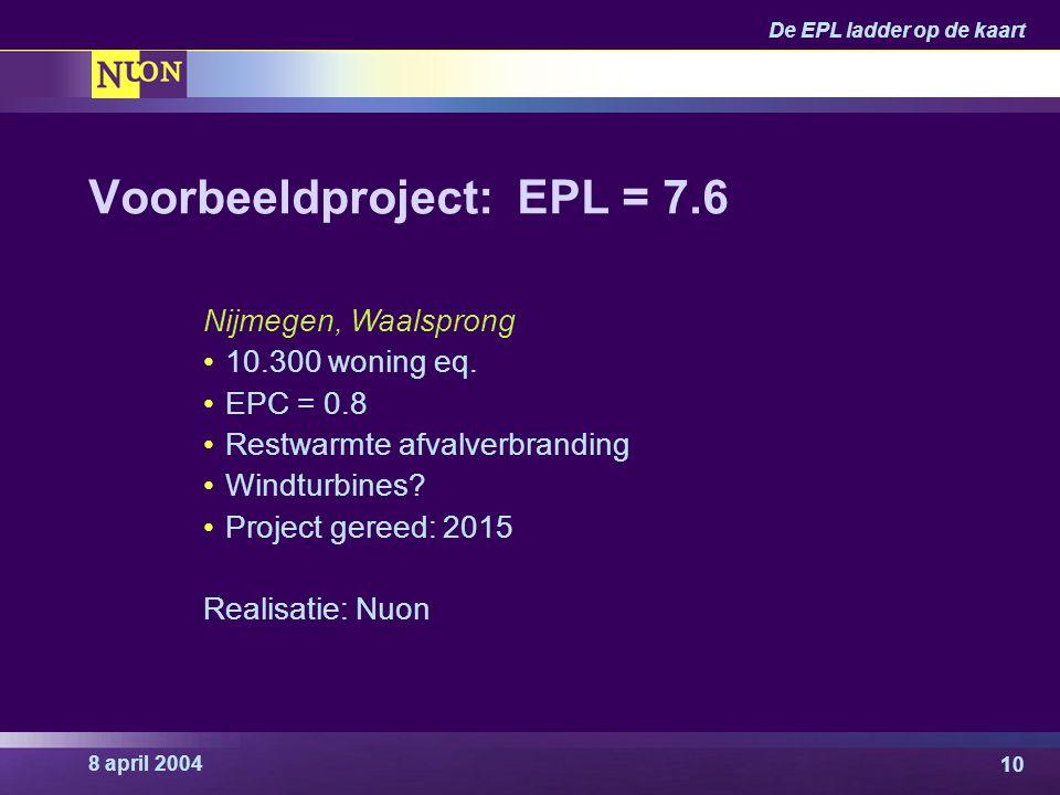 8 april 2004 De EPL ladder op de kaart 10 Voorbeeldproject: EPL = 7.6 Nijmegen, Waalsprong 10.300 woning eq. EPC = 0.8 Restwarmte afvalverbranding Win