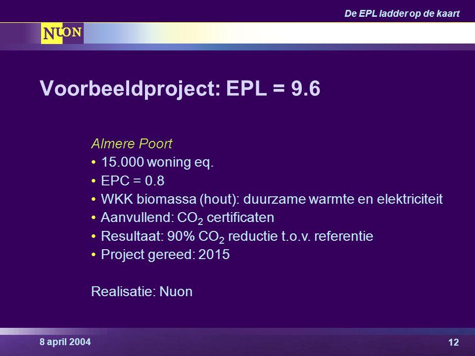 8 april 2004 De EPL ladder op de kaart 12 Voorbeeldproject: EPL = 9.6 Almere Poort 15.000 woning eq. EPC = 0.8 WKK biomassa (hout): duurzame warmte en