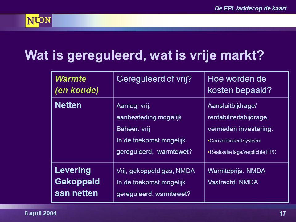 8 april 2004 De EPL ladder op de kaart 17 Wat is gereguleerd, wat is vrije markt? Warmte (en koude) Gereguleerd of vrij? Hoe worden de kosten bepaald?