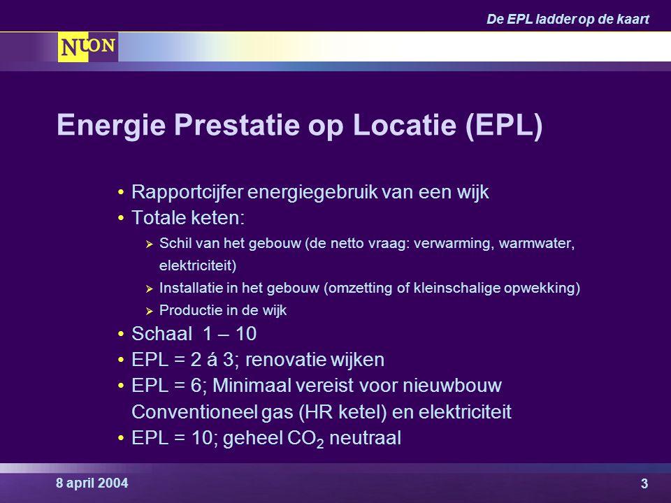 8 april 2004 De EPL ladder op de kaart 14 Wetgeving Elektriciteitswet 1998, gaswet 2000  Liberalisering in stappen  Scheiding netbeheer en levering  Concurrentie bij aanleg integrale energievoorziening BAEI 2001 Interventiewet 2004 (wetsvoorstel)  Aanscherping op betrouwbaarheid, handhaving  Mogelijke consequentie: economisch eigendom bij netbeheerder  Implementatie uiterlijk 1 juli 2004 Warmtewet (voorstellen)  Bescherming consument, verankeren NMDA  Gereguleerd netbeheer, verankeren leveringszekerheid