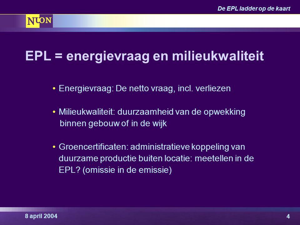 8 april 2004 De EPL ladder op de kaart 4 EPL = energievraag en milieukwaliteit Energievraag: De netto vraag, incl. verliezen Milieukwaliteit: duurzaam