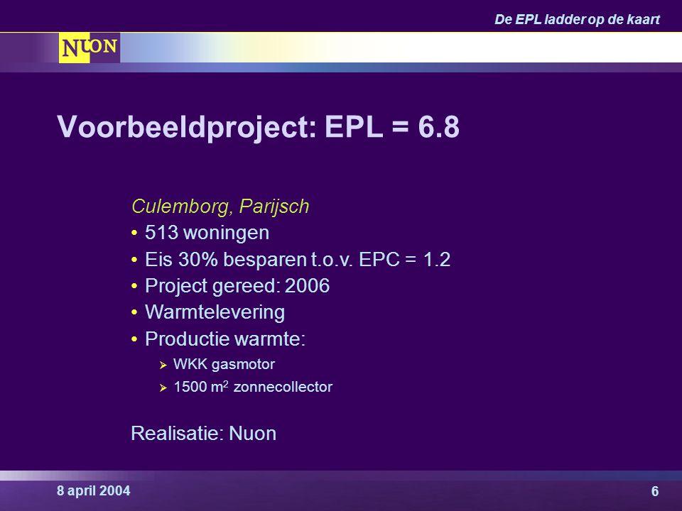 8 april 2004 De EPL ladder op de kaart 6 Voorbeeldproject: EPL = 6.8 Culemborg, Parijsch 513 woningen Eis 30% besparen t.o.v. EPC = 1.2 Project gereed
