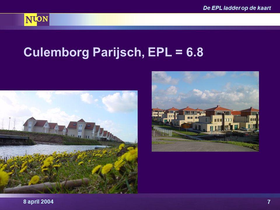 8 april 2004 De EPL ladder op de kaart 8 Voorbeeldproject EPL = 7.5 Rotterdam, Hoogvliet 5.000 woningen Herstructurering Restwarmte industrie Project gereed: 2012 Realisatie: Nuon