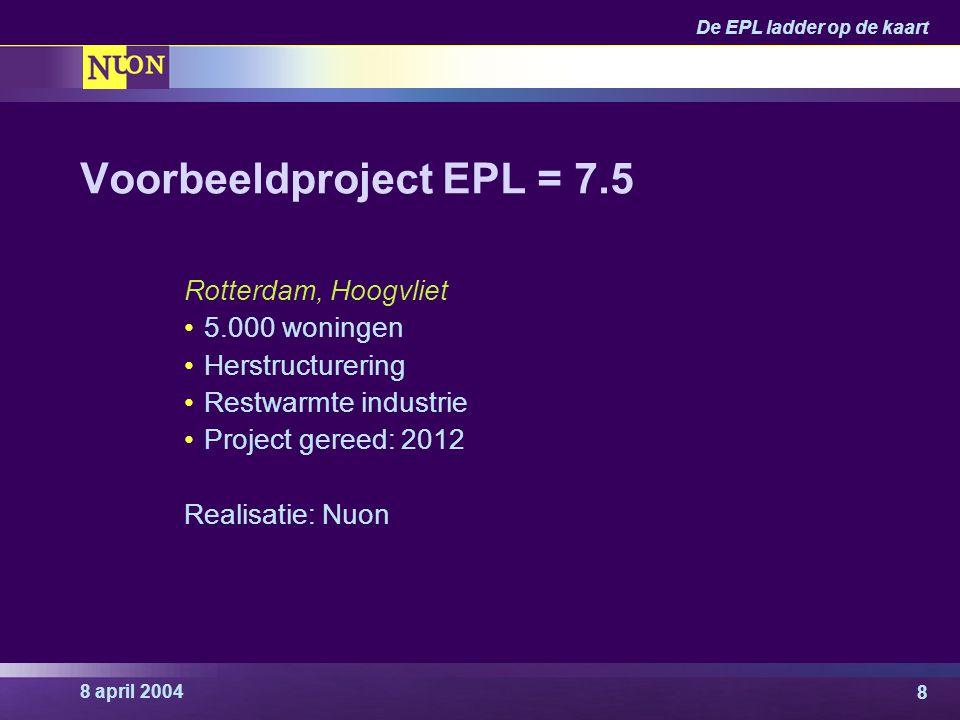8 april 2004 De EPL ladder op de kaart 8 Voorbeeldproject EPL = 7.5 Rotterdam, Hoogvliet 5.000 woningen Herstructurering Restwarmte industrie Project