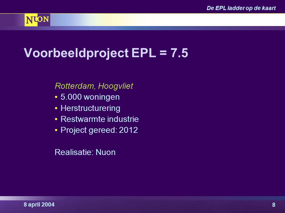 8 april 2004 De EPL ladder op de kaart 9 Rotterdam Hoogvliet, EPL = 7.5