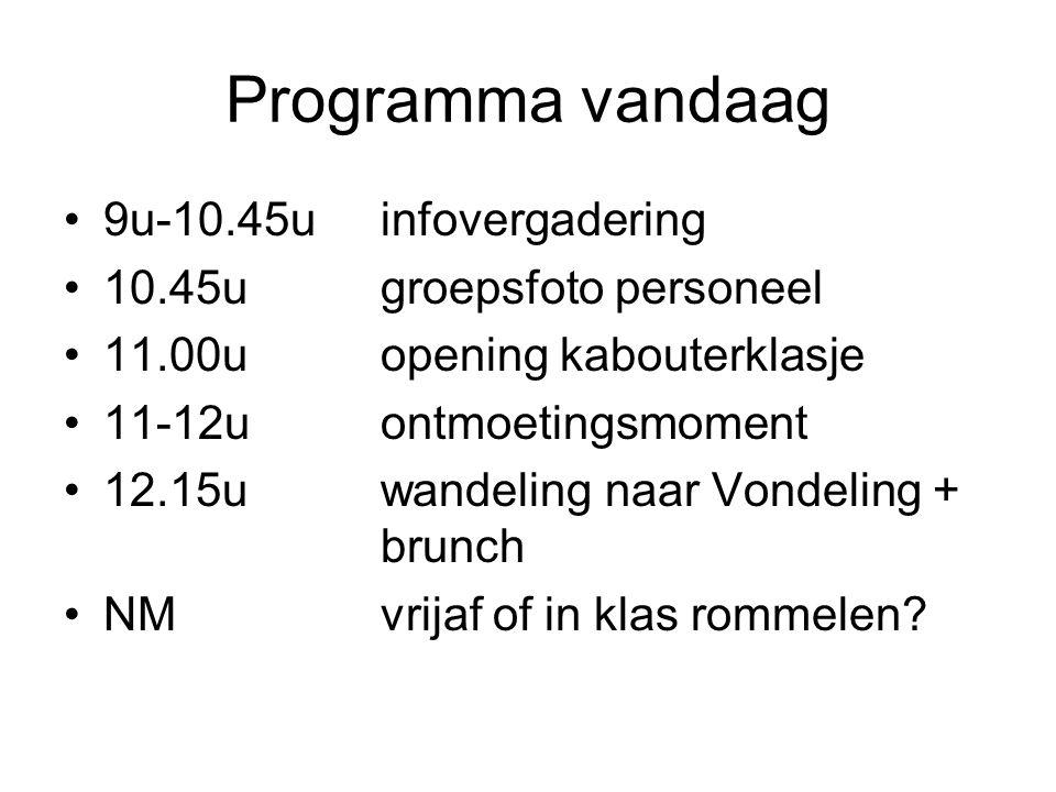 Programma vandaag 9u-10.45uinfovergadering 10.45ugroepsfoto personeel 11.00uopening kabouterklasje 11-12uontmoetingsmoment 12.15uwandeling naar Vondel