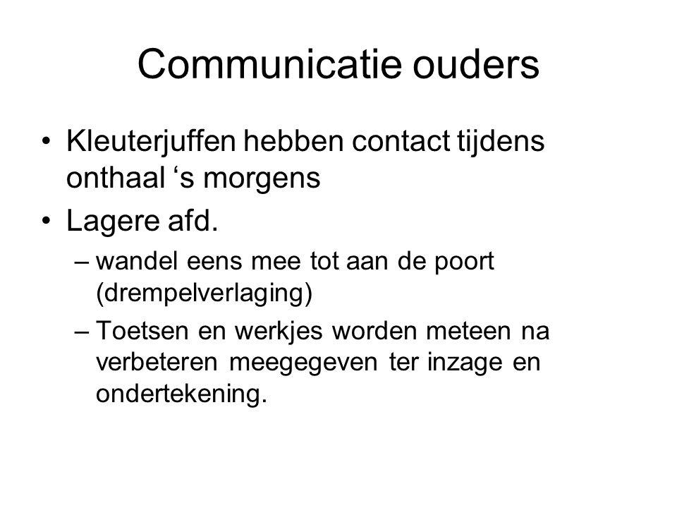 Communicatie ouders Kleuterjuffen hebben contact tijdens onthaal 's morgens Lagere afd. –wandel eens mee tot aan de poort (drempelverlaging) –Toetsen