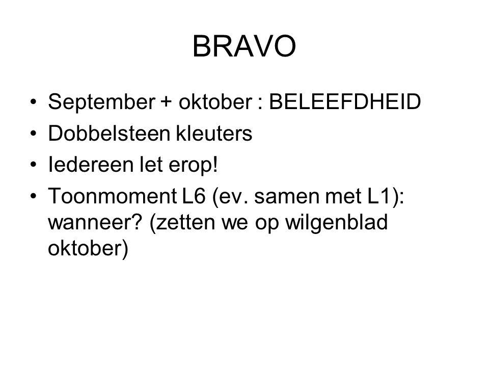 BRAVO September + oktober : BELEEFDHEID Dobbelsteen kleuters Iedereen let erop! Toonmoment L6 (ev. samen met L1): wanneer? (zetten we op wilgenblad ok