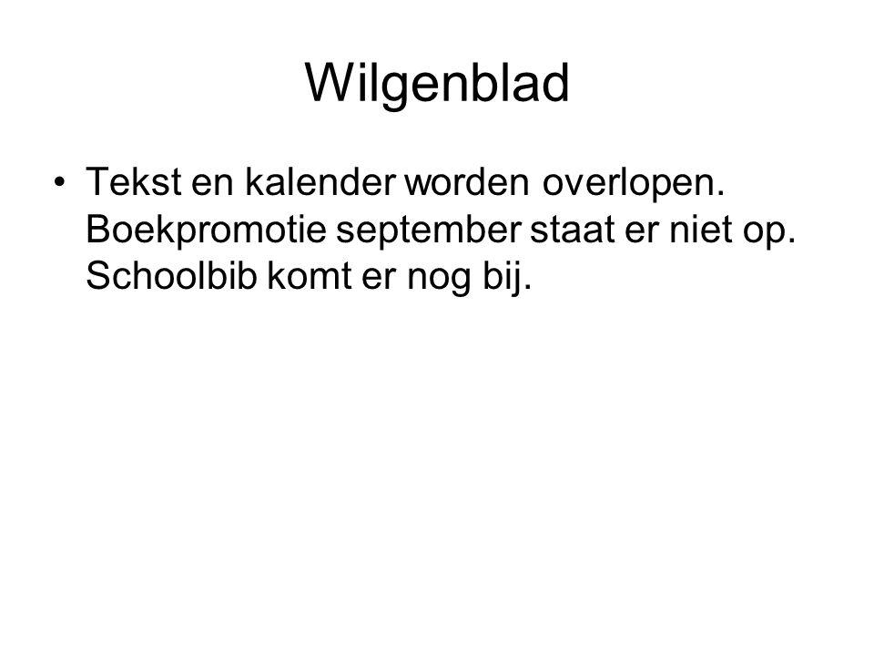Wilgenblad Tekst en kalender worden overlopen. Boekpromotie september staat er niet op. Schoolbib komt er nog bij.