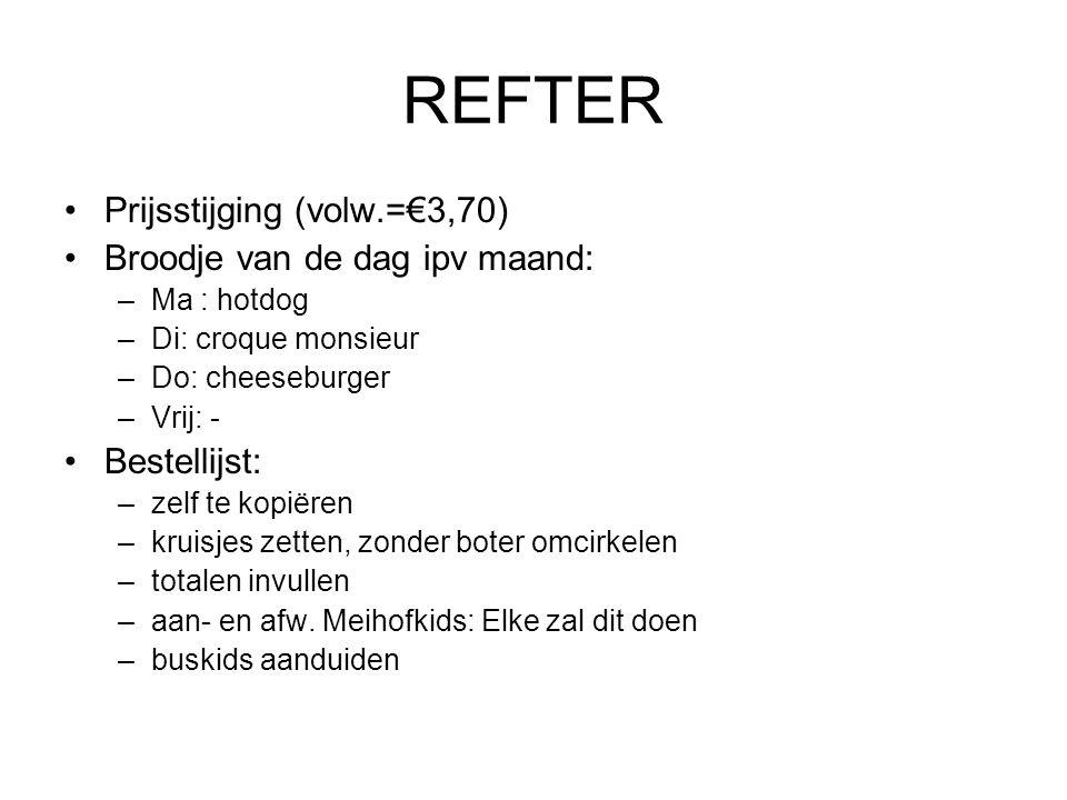 REFTER Prijsstijging (volw.=€3,70) Broodje van de dag ipv maand: –Ma : hotdog –Di: croque monsieur –Do: cheeseburger –Vrij: - Bestellijst: –zelf te ko