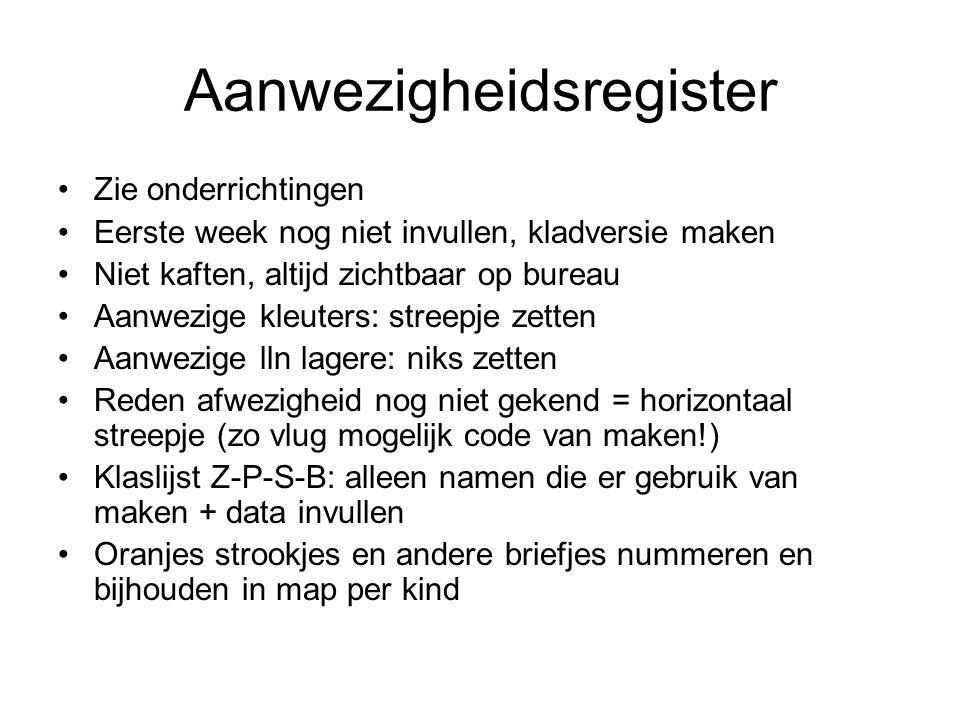 Oudercontact Ma 8/9 om 19.30u in grote zaal: ouders van kleuters (+ om 21u verg.