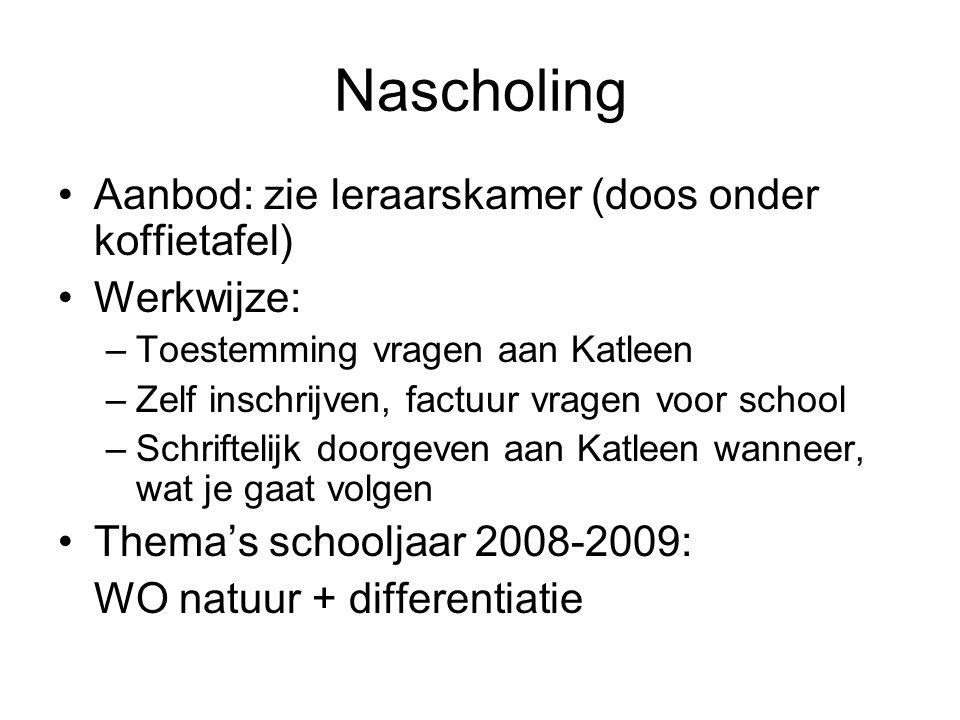 Nascholing Aanbod: zie leraarskamer (doos onder koffietafel) Werkwijze: –Toestemming vragen aan Katleen –Zelf inschrijven, factuur vragen voor school