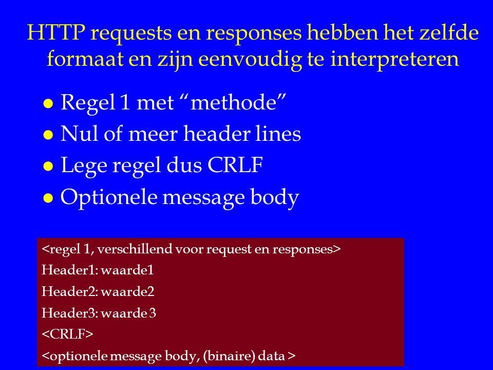 HTTP requests en responses hebben het zelfde formaat en zijn eenvoudig te interpreteren l Regel 1 met methode l Nul of meer header lines l Lege regel dus CRLF l Optionele message body Header1: waarde1 Header2: waarde2 Header3: waarde 3