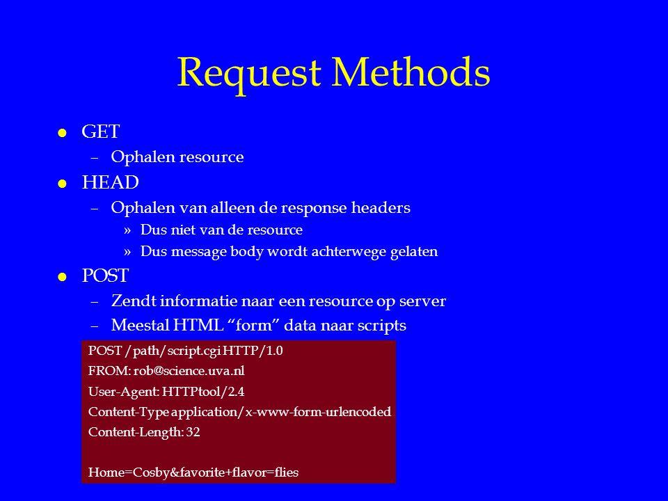 Request Methods l GET –Ophalen resource l HEAD –Ophalen van alleen de response headers »Dus niet van de resource »Dus message body wordt achterwege gelaten l POST –Zendt informatie naar een resource op server –Meestal HTML form data naar scripts POST /path/script.cgi HTTP/1.0 FROM: rob@science.uva.nl User-Agent: HTTPtool/2.4 Content-Type application/x-www-form-urlencoded Content-Length: 32 Home=Cosby&favorite+flavor=flies