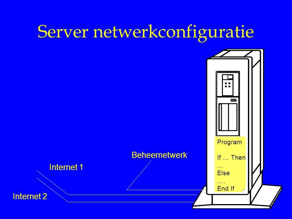Server netwerkconfiguratie Program If … Then … Else …. End If Internet 1 Internet 2 Beheernetwerk