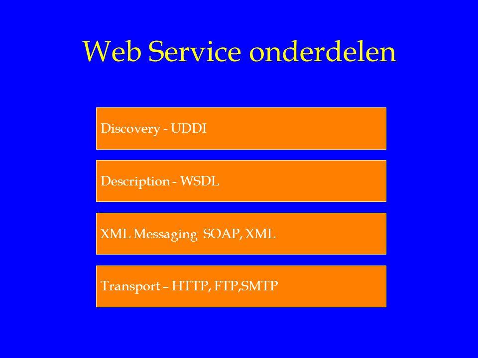 Web Service onderdelen Discovery - UDDI Description - WSDL XML Messaging SOAP, XML Transport – HTTP, FTP,SMTP