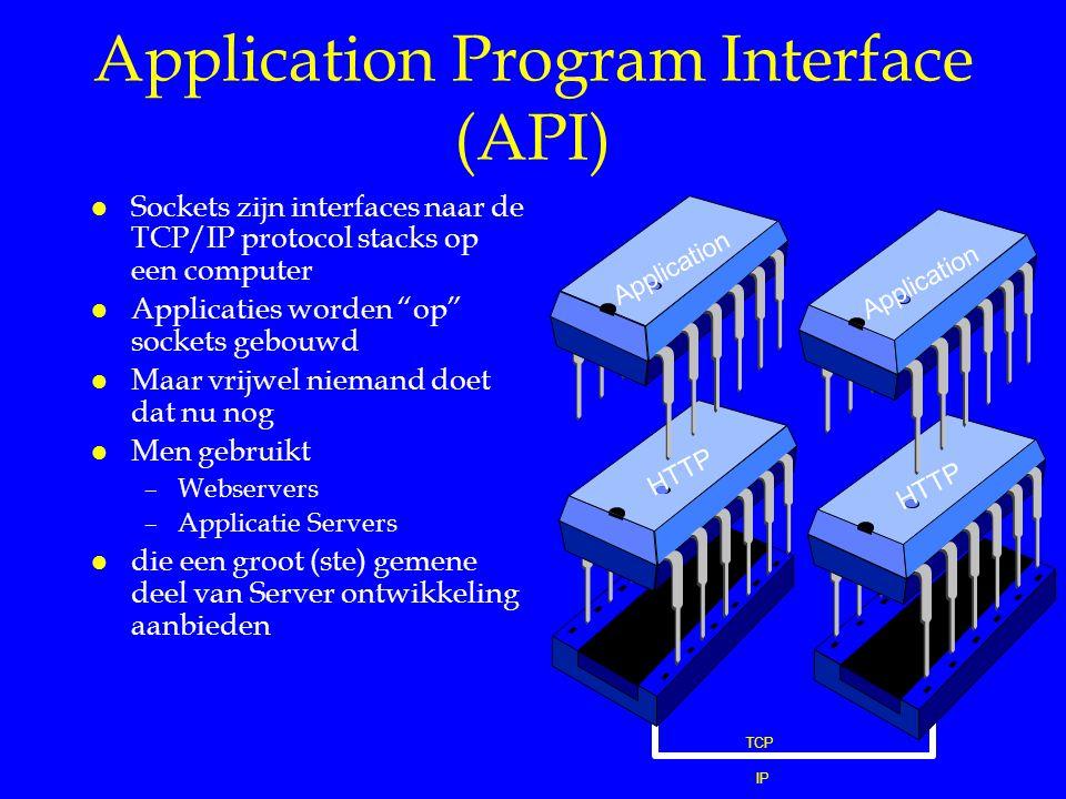 """Application Program Interface (API) l Sockets zijn interfaces naar de TCP/IP protocol stacks op een computer l Applicaties worden """"op"""" sockets gebouwd"""