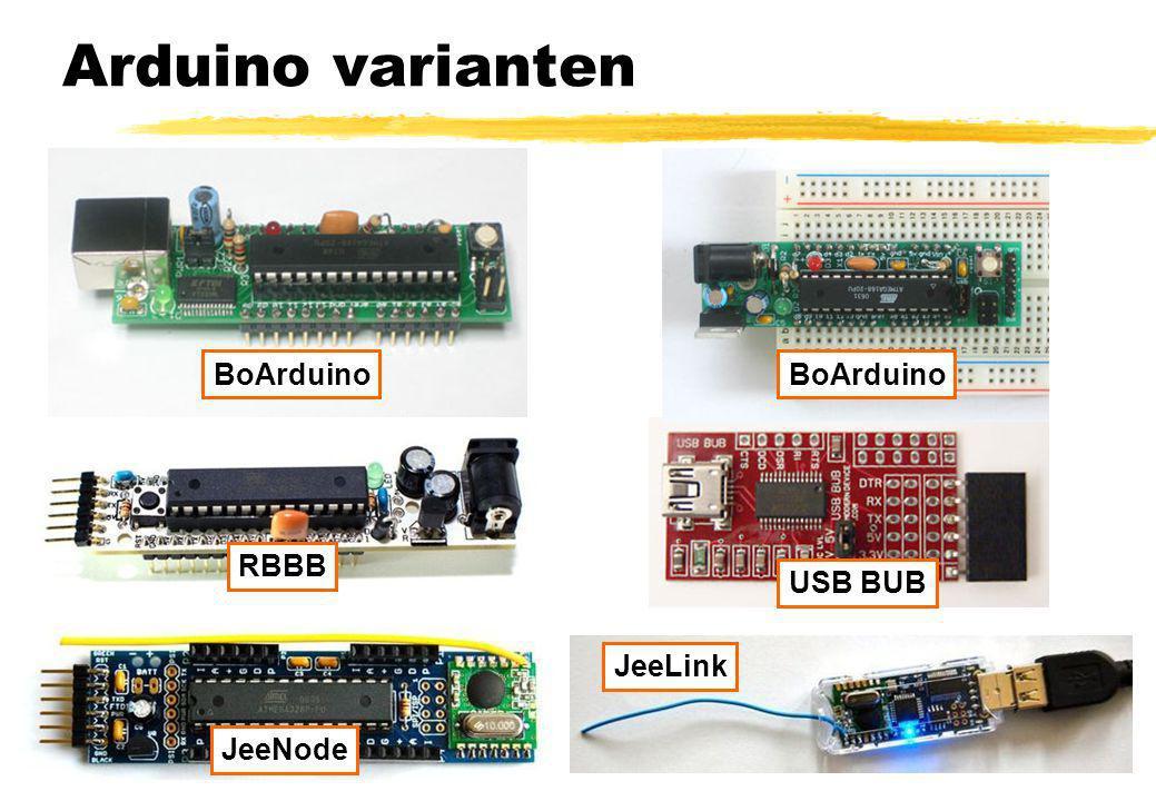 Arduino varianten BoArduino RBBB USB BUB JeeNode JeeLink